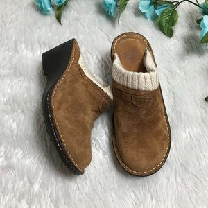 UGG Brown Leather Wedge Slip On Shoes